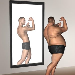 Human man fat and slim concept in mirror for health or sport